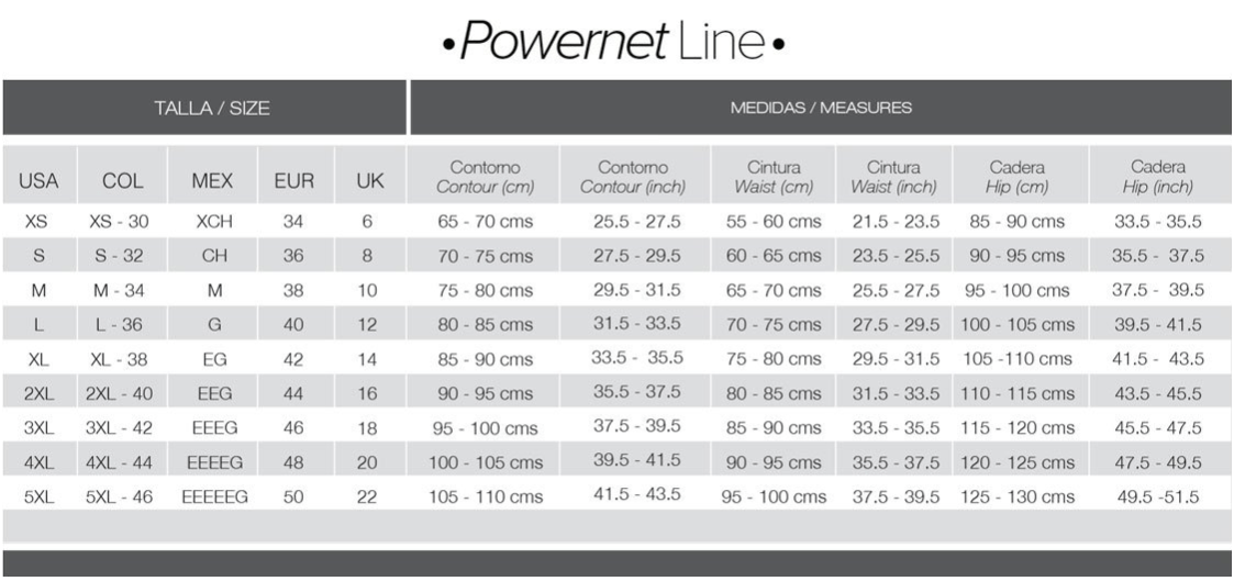 POWERNET SIZE CHART