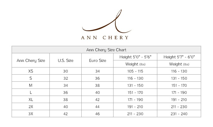 ann chery womens size chart
