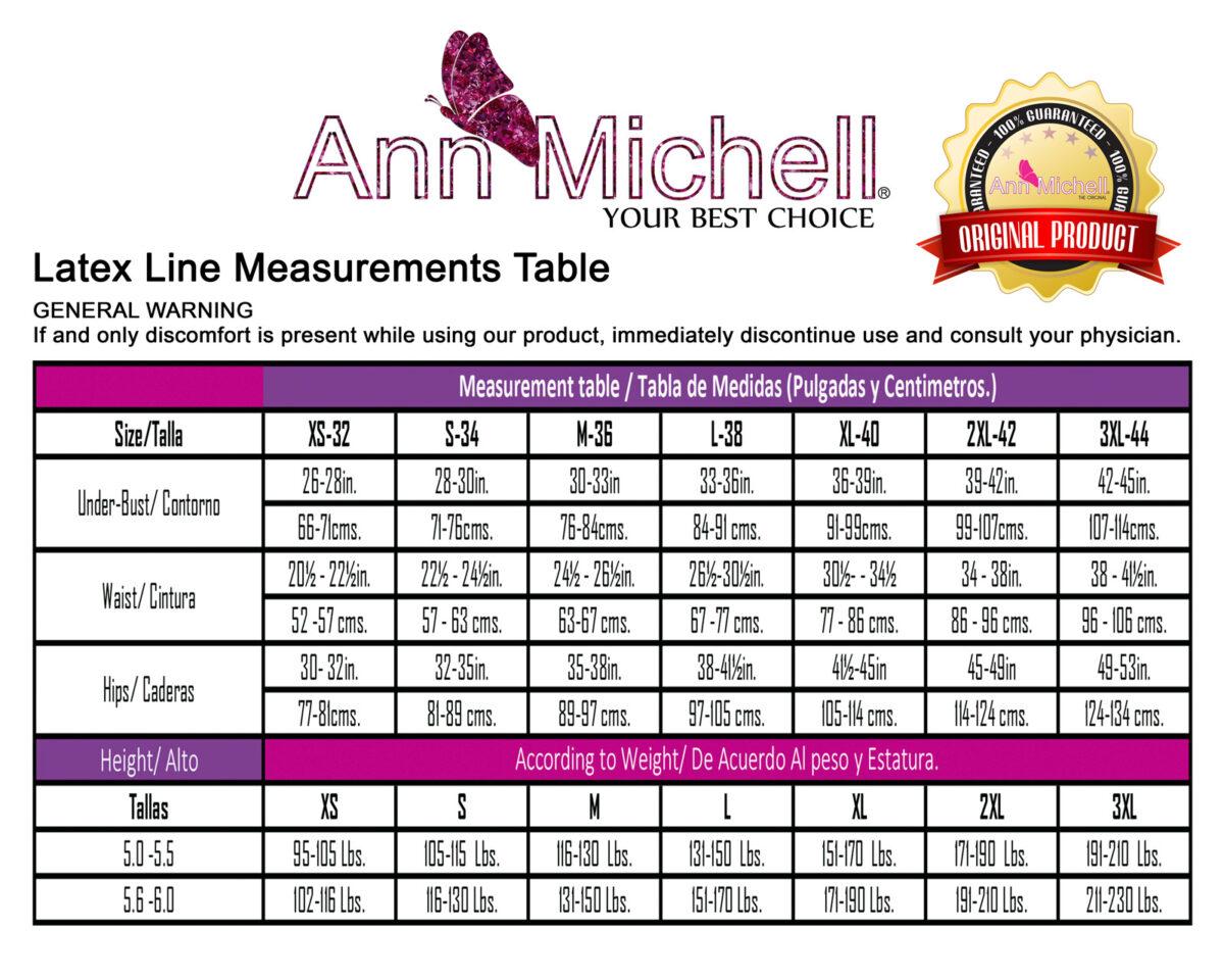 AM size chart latex line